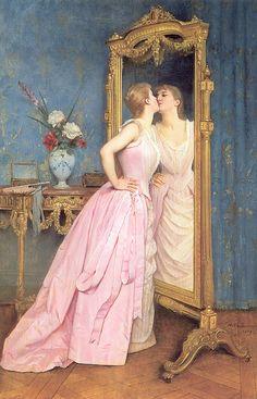 "Art painting ~ Mirror portrait ~ France ~ Elegant art history ""Vanity' ~ Academic Art ~ Circa By Auguste Toulmouche Renaissance Kunst, Renaissance Paintings, Classic Paintings, Beautiful Paintings, Romantic Paintings, Victorian Art, Classical Art, Old Art, Canvas Artwork"