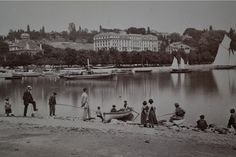 Fishing At Ouchy. Castle Of Chillou.  2  Albumen Photos