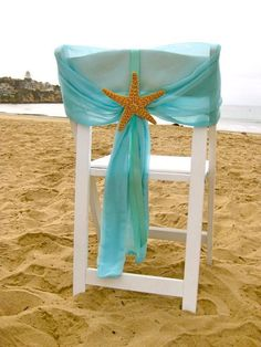 Beach Wedding Chair Caps with Starfish or Sand Dollars, Turquoise Wedding Colors, Rustic Wedding Chairs