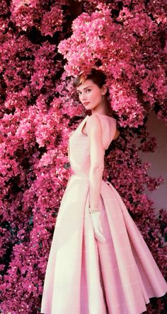 Audrey Hepburn and bougainvillea - Norman Parkinson