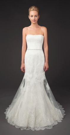 Joseline - and flare french lace gown with thin Swarovski beaded belt and sheer lace overlay.
