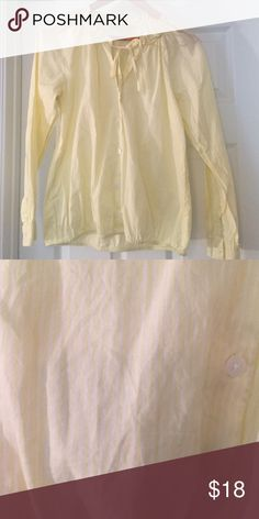 Loft button down Pale yellow and white stripes with ruffle and tie collar and stretch waist. 100% cotton. Jeans for sale in separate listing. LOFT Tops Button Down Shirts