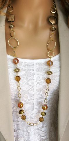 Long Gold and Brown Chunky Beaded Necklace, Long Brown Necklace, Beaded Necklace, Chunky Beaded Necklace, Long Brown Necklace by RalstonOriginals on Etsy Beaded Jewelry, Handmade Jewelry, Jewelry Necklaces, Handmade Necklaces, Pearl Necklaces, Soutache Jewelry, Gold Jewellery, Bracelets, Diy Schmuck