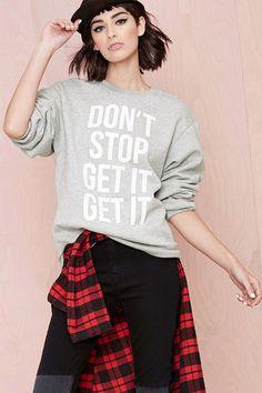 Gray Letter Print Long Sleeve Loose #Sweatshirt