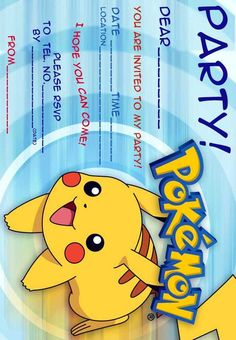 POKEMON COLORING PAGES: POKEMON FREE PARTY INVITATIONS Pokemon Birthday Invites, Pokemon Party Invitations, Free Party Invitations, Free Printable Birthday Invitations, Free Printable Cards, Printable Ruler, Invitation Birthday, Invitation Ideas, Pikachu
