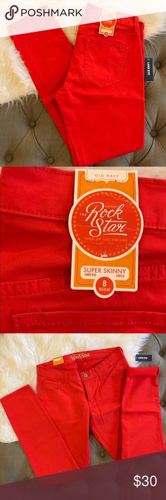 Old Navy Rock Star super skinny stretch lower rise NWT Old Navy Rock Star super skinny stretch pants. Bright red & lower rise. Size 8 regular Old Navy Pants Skinny