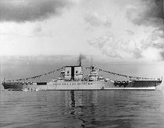 Lexington Class USS Saratoga (CV-3) flagged for Navy Day, 1932