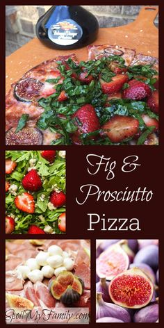 The sweet, jammy flavor of figs combined with the salty flavor of both the prosciutto and the parmesan cheese is so perfectly matched. But then you add the contrast of the warm, gooey cheese and the crispy crust with cool crisp arugula and strawberries and it's perfectly magic! www.spoilmyfamily.com #figandprosciutto