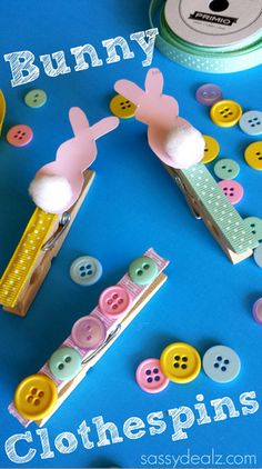 Bunny Clothespin Easter Craft Using Paint Samples #DIY #Cheap Easter craft for kids to make! | CraftyMorning.com