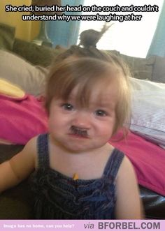 When a false eyelash accidentally makes you look like Hitler… i laughed way to hard at this!!