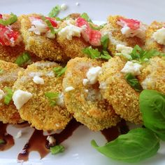 {Baked} Fried Green Tomatoes with balsamic reduction, blue cheese sauce and crab. Unbelievably delicious. [Inspired by Montana Steak & Chop House's Fried Green Tomatoes]