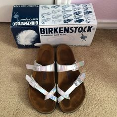 Mayari Birko-Flor Holographic Silver Sandals In EUC, only worn 3 times.  I will miss these but I don't wear them enough. Very comfy as expected from Birkenstock. Fits true to size. Includes original box. Pet and smoke free. NO TRADES. Birkenstock Shoes Sandals