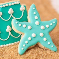 Aqua Mermaid Starfish Cookie Favors // 1 doz. // Mermaid Under the Sea Birthday Party // Girl Birthday Favors // Star Fish Favors via Etsy