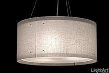 Drum style light fixture by LightArt.  LightArt Custom Lighting - Handmade in Seattle.  Made from 3form Varia Ecoresin.