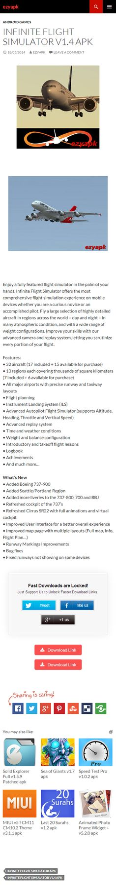 Android Games Infinite Flight Simulator v1.4 apk - ezyapk Infinite Flight Simulator offers the most comprehensive flight simulation experience on mobile, whether you are a curious novice or an accomplished pilot. http://www.ezyapk.com/android-games/infinite-flight-simulator-v1-4-apk/