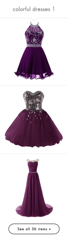 """colorful dresses 1"" by natalyag ❤ liked on Polyvore featuring dresses, halter tops, short homecoming dresses, purple prom dresses, purple cocktail dresses, halter prom dresses, purple homecoming dresses, short dresses, short prom dresses and a line prom dresses"