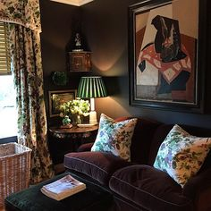 The handsome interiors of Cameron Kimber. Love the plum and green colors, but would prefer a classical-style painting hanging over the sofa.