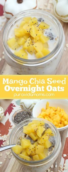 Quick and easy vegan breakfast recipe is sure to please a crowd with mango chia flavor. Less than 10 minutes to prepare Mango Chia Overnight Oats! Egg Recipes For Breakfast, Delicious Breakfast Recipes, Breakfast Ideas, Morning Breakfast, Morning Food, Brunch Ideas, Brunch Recipes, Oats Recipes, Vegan Recipes