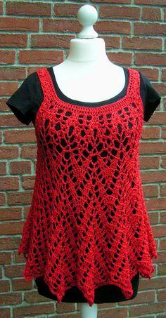 gehäkeltes Top, crochet Top, rot, Baumwolle Viscose, Minikleid