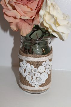 Mason Jar Vase with Button Art and Burlap, Customized Wedding Centerpiece, Rustic Home Decor - 1 Jar
