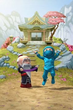 My clumsy ninja jumps for joy upon attaining a new color belt.