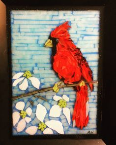 Cardinal and dogwood stained glass mosaic courtesy of Kickin' Glass Kansas