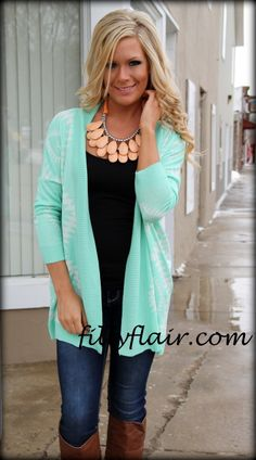 I'll take the weight off mint aztec cardigan - Filly Flair
