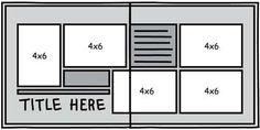 double page scrapbook layout sketch Scrapbooking 101, Scrapbook Paper Crafts, Scrapbook Supplies, Scrapbook Cards, Scrapbook Layout Sketches, Card Sketches, Creating Keepsakes, Page Maps, 6 Photos