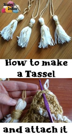 Share this: How to make a Tassel & Attach it Get a small book or card board about 3 inches wide. I used my child's Tablet and wrapped my yarn around 20 […] Crochet Stitches, Crochet Patterns, Crochet Ideas, Crochet Tutorials, Stitch Patterns, Handmade Crafts, Diy Crafts, Crochet Projects, Crochet Crafts