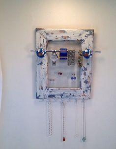 Cottage Style Jewelry Organizer Wood Frame by PippinPost on Etsy, $39.00