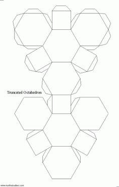 Net Truncated Octahedron Stencil Diy Cadeau 3d Paper Crafts Cards
