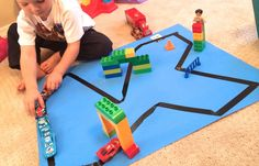 Duct Tape Race Track. Kids activities. Toddler fun.