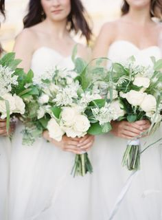 bridesmaids in ivory annabelle dress from BHLDN | image via: style me pretty