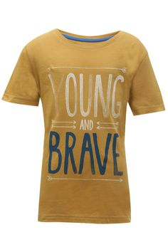 If you were planning to buy an adorable T-shirt for your growing boy, then this one from Juniors is a great option. This round neck line with contrast graphic print makes it super adorable. Team it with shorts and sneakers for a travel look.