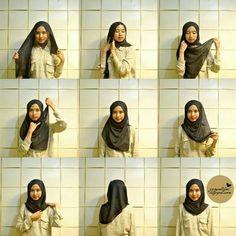 What we need : Inner / Inner Ninja Paris Veil (Kerudung paris) Pin (Jarum Pentul) How to wrap it : Wrap your head wit. Square Hijab Tutorial, Simple Hijab Tutorial, Hijab Style Tutorial, Stylish Hijab, Casual Hijab Outfit, Hijab Chic, Tutorial Hijab Wisuda, Habits Musulmans, How To Wear Hijab