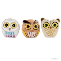 Watchful Owl Set  Whoo is watching you? Just these three petite ceramic owls, each hand carved and hand painted to add charming character to your shelf, desk, or table. Think they can tell whose been naughty or nice? ;) Charming #FairTrade collectible #OWLS www.serrv.org