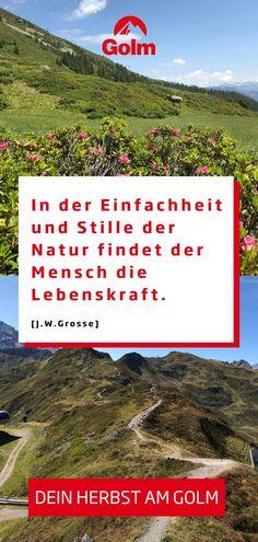 Du möchtest dem stressigen Alltag entkommen? Schöpfe neue Kraft aus deinem Herbsturlaub in Österreich. Wandere durch die Berglandschaft am Golm im Montafon und genieße angenehme Temperaturen - in deinem (baldigen) erholsamen Urlaub. Herbstferien in den Bergen: Lass dich jetzt auf golm.at inspirieren!#golmat Bergen, Mountain Landscape, Day Trips, Family Vacations, Recovery, Road Trip Destinations, Mountains