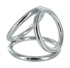 The Triad Chamber Cock and Ball Ring- Large. The Triad Chamber brings the art of domination in threes. This chrome cock cage features three differently sized O-rings with which you can ensnare your pet. The largest ring goes around the cock and balls like a normal cock ring. The middle sized ring goes around the balls, providing the wearer with a pressure sensation. The third ring goes around the base of the penis to help you maintain the kind of erection that lasts for extended sessions....