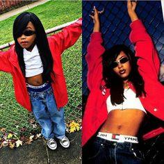 Aaliyah Archives: So cute! Black 90s Fashion, Hip Hop Fashion, Tomboy Fashion, Fashion Outfits, 2000s Fashion, Streetwear Fashion, Black Girl Halloween Costume, Clever Halloween Costumes, Halloween Outfits