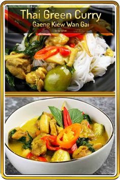 Thai Chicken Green Curry, one of the sweet and spicy curry dishes from Thailand. It can be adjusted to zero spicy and it would still be authentic. This is because there are no-chili versions of this dish, and Thai people still eat it! Authentic Thai Green Curry, Easy Thai Green Curry, Thai Green Curry Recipes, Spicy Chicken Recipes, Asian Recipes, Easy Recipes, Recipe Chicken, Delicious Recipes, Soup Recipes