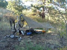 I try to do a couple day trips every month and put together a basic setup which works well for 3 season camping in Colorado. Touring Bicycles, Touring Bike, Dirt Bicycle, Mtb, Lightweight Tarp, Camping Tarp, Adventure Gear, Fat Bike, Travel Tours