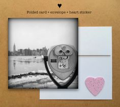 Blank photo card printed on recycled paper // shared with love // profits support charity // new york city skyline with Empire State building // photo taken in Brooklyn (©Whitney Welshimer)