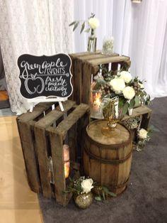 Rustic wedding decore with barrels