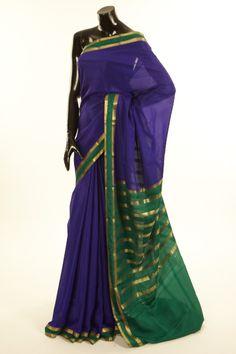 Mysore Crepe- crepe dark marine blue saree with blouse