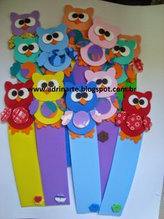 Encomenda da Carla - São Paulo Owl Crafts, Diy And Crafts, Crafts For Kids, Girls 3rd Birthday, Owl Kids, Felt Bookmark, Types Of Craft, Mothers Day Crafts, Mark Making