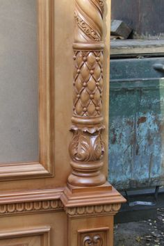 Art Wood Wood Carving Designs, Wood Carving Patterns, Wood Carving Art, Wooden Door Design, Wooden Doors, Wood Design, Carved Wood Wall Art, Wood Art, Wooden Staircase Railing
