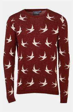 @Topman 'All Over Swallow' Crewneck Sweater   #Nordstrom