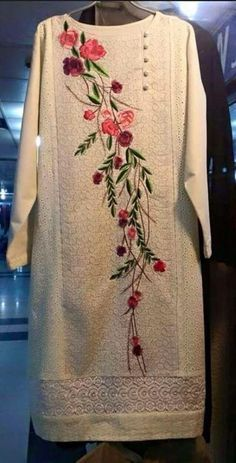 salwar kameez - Compare Price Before You Buy Pakistani Dresses, Indian Dresses, Indian Outfits, Embroidery Suits Design, Embroidery Dress, Kurta Designs, Blouse Designs, Hijab Style, Kurti Patterns
