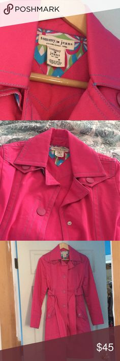 Tommy Jeans pink trench coach. Medium. Pink Tommy Jeans trench coat. Pink with blue detail. Excellent condition. Tommy Hilfiger Jackets & Coats Trench Coats