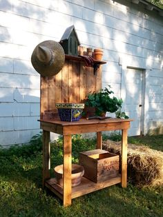 Recycled Upcycled Pallet Wood Potting Bench by GoodRiddanceFarm